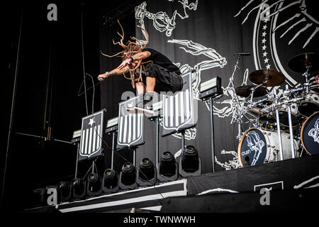 Copenhagen, Denmark. 21st June, 2019. Copenhagen, Denmark - June 21st, 2019. The American heavy metal band Lamb of God performs a live concert during the Danish heavy metal festival Copenhell 2019 in Copenhagen. Here vocalist Randy Blythe is seen live on stage. (Photo Credit: Gonzales Photo/Alamy Live News - Stock Image