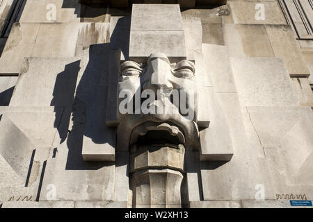 Italy, Lombardy, Milan, Central Train Station, detail of the facade - Stock Image