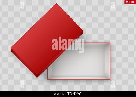 Blank of Open Red Shoe Box - Stock Image