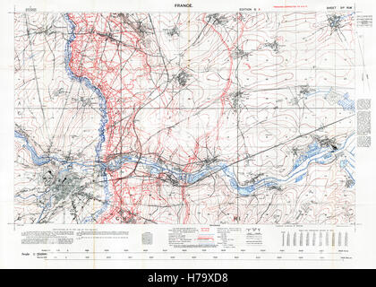 Arras Sector Battlefield Map, 1917 Edition 6A 1:20,000 military map of the British sector in Northern France, with - Stock Image