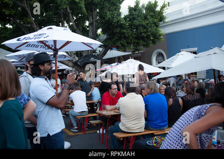 Open Street Gathering on First Thursdays on Bree Street in Cape Town, South Africa - Stock Image