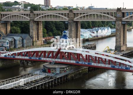 Swing bridge at Port of Tyne, Newcastle upon Tyne, England - Stock Image