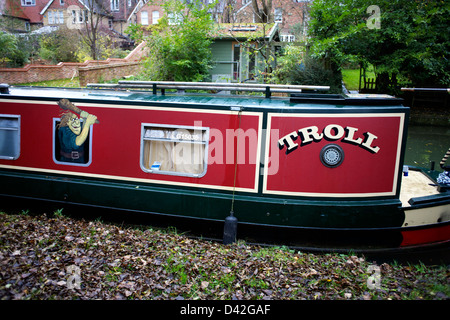 Narrowboat Troll moored on the South Oxford Canal City of Oxford Oxfordshire Oxon England boat narrowboat canal - Stock Image