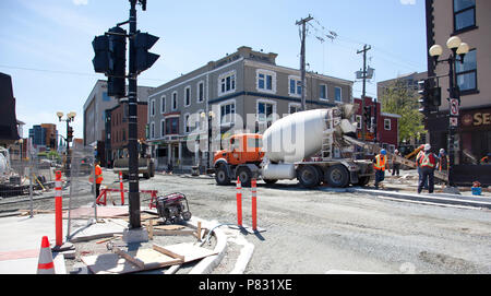June 23, 2018- St. Johns, Newfoundland: Corner of Adelaide and Water Street is busy under summer construction - Stock Image