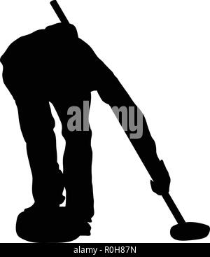 Curling silhouette. Black on White. Vector illustration. - Stock Image