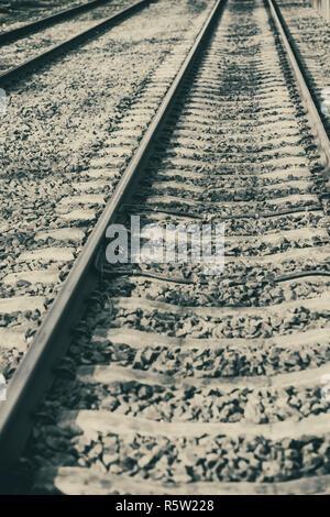 Detail of empty railway tracks - Stock Image