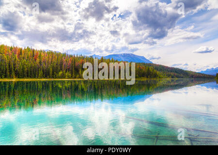 Valley of the Five Lakes is a popular hiking trail in Jasper National Park on the Icefields Parkway in Alberta, Canada. - Stock Image