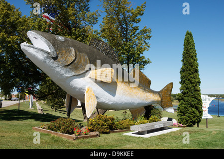 Giant Walleye in downtown Baudette, Minnesota. - Stock Image