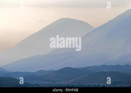 Mountain Vista at dusk Gjirokasta Town Village Albania - Stock Image