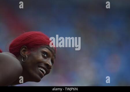 Ostrava, Czech Republic. 20th June, 2019. Shaunae Miller-Uibo (Bahamas) competes in women's run 300 metres during the Ostrava Golden Spike, an IAAF World Challenge athletic meeting, in Ostrava, Czech Republic, on June 20, 2019. Credit: Jaroslav Ozana/CTK Photo/Alamy Live News - Stock Image