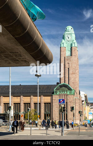 Clock Tower of Helsinki Central Railroad Station - Stock Image