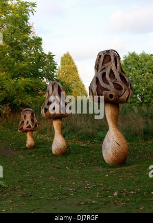 Willow Sculptures of Morel Mushrooms, Kew Royal Botanical Gardens. - Stock Image