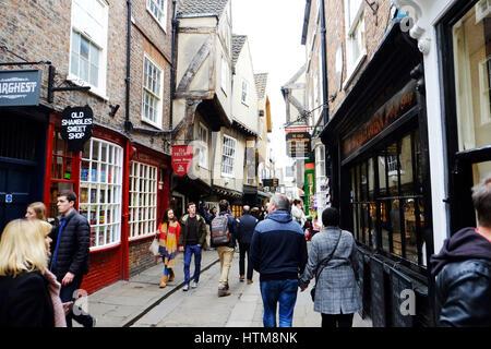 York shambles York city shambles shopping street York city area Yorkshire shopping UK England - Stock Image