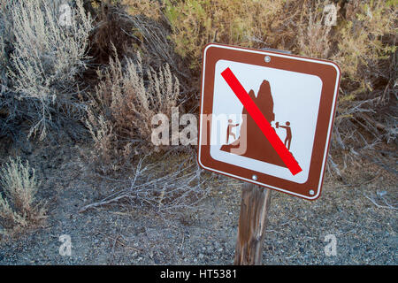 Signage at the South Tufa of Mono Lake in Mono County, California. - Stock Image