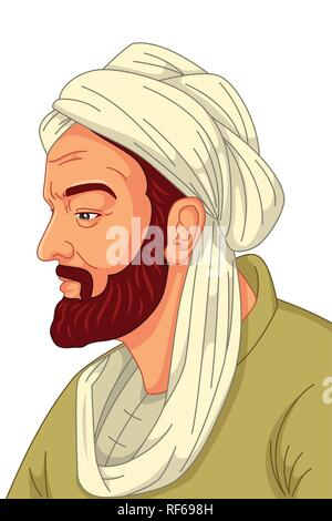A vector illustration of Avicenna Muslim Physician - Stock Image