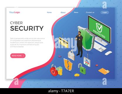 Cyber Security Isometric Concept - Stock Image