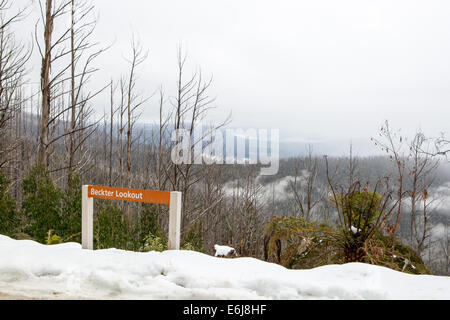 The view from Beckter lookout during winter at Mount Margaret in Victoria, Australia - Stock Image