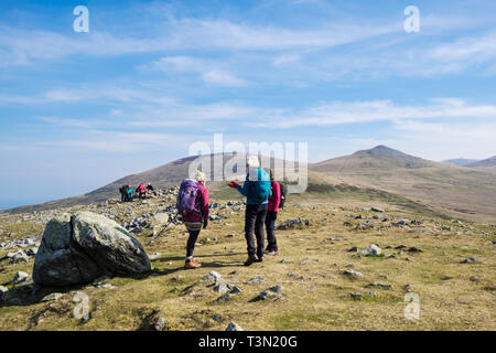 Hikers on top of Moel Faban in hills of northern Snowdonia National Park. Bethesda, Gwynedd, north Wales, UK, Britain - Stock Image