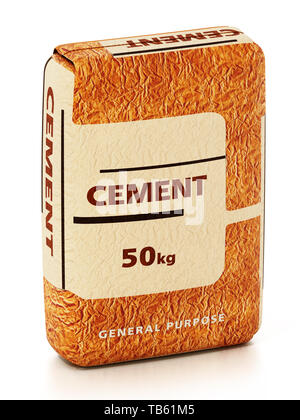 Cement bag with generic package design isolated on white background. 3D illustration. - Stock Image