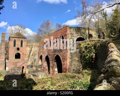 Engine house and blast furnaces, Blists Hill, Ironbridge Gorge, World Heritage Site, Shropshire, England - Stock Image