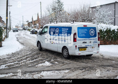Heavy snowfall causing traffic problems in Braintree, Essex - December 2017 - Stock Image