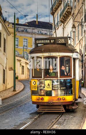 Tramway 28, Alfama, Lisbon, Portugal - Stock Image