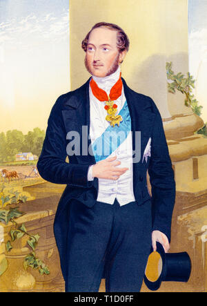 Prince Albert portrait, colour woodcut print, hand on table, after George Baxter, c. 1860 - Stock Image