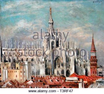 Il Duomo di Milano dai tetti - Milan Cathedral from the roofs 1932 by Giorgio de Chirico 1888 born in Greece Italian artist and writer. (Italy) - Stock Image