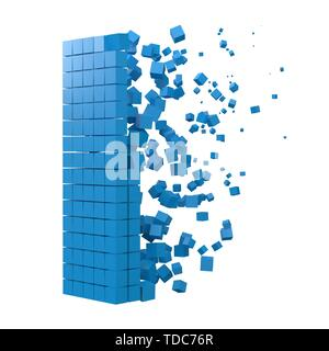 letter I shaped data block. version with blue cubes. 3d pixel style vector illustration. suitable for blockchain, technology, computer and abstract th - Stock Image
