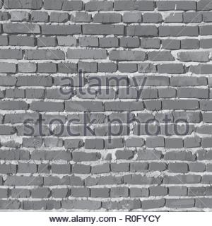 Black and white brick wall. Vector background - Stock Image