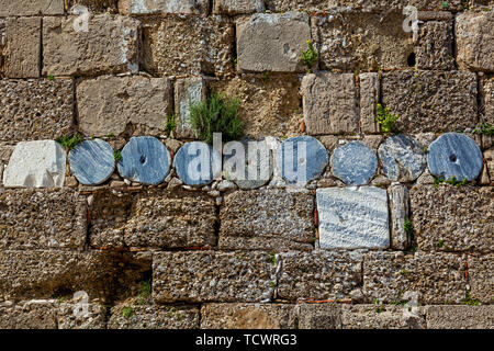 Texture of stone walls, old stones. Background of old stone wall - Stock Image