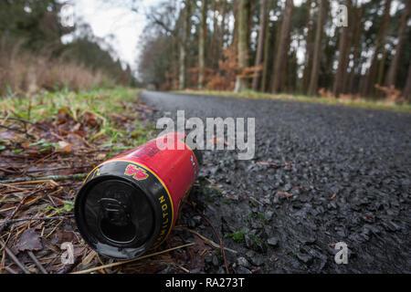 Aluminium can littering roadside, Northumberland national park, Northumberland, UK - Stock Image