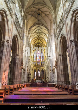 Czech Republic, Prague. The nave of St. Vitus' s Cathedral at the Prague Castle. - Stock Image