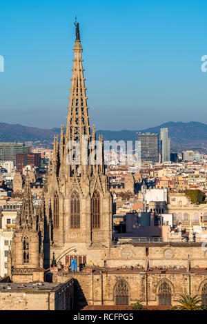 Cathedral of the Holy Cross and Saint Eulalia, Barcelona, Catalonia, Spain - Stock Image