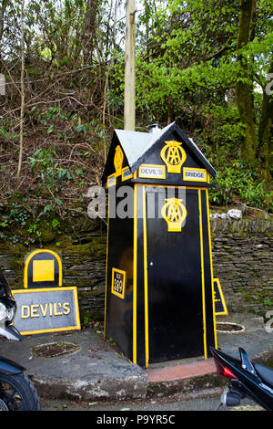 Traditional Automobile Association all box for emergency breakdowns Devil's Bridge, Wales, UK - Stock Image