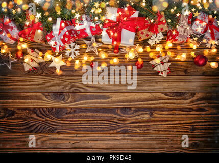Decorative Christmas rustic background with wooden planks. Free space for text. - Stock Image