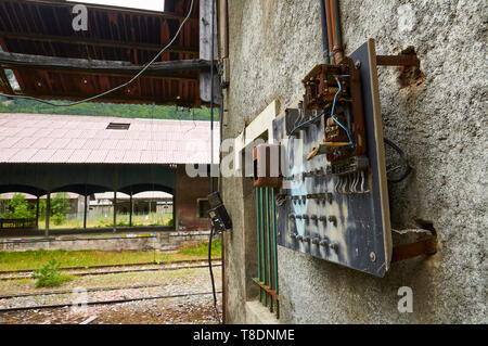 Rusty old distribution panel and electric meter at the abandoned Canfranc International railway station (Canfranc, Pyrenees, Huesca, Aragon, Spain) - Stock Image