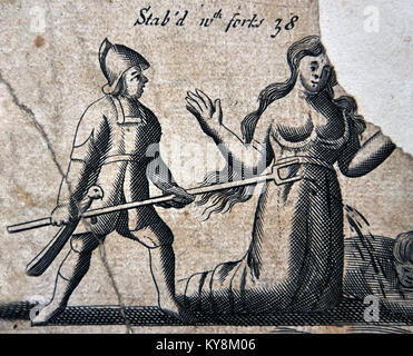 Illustration from a 1583 edition of Foxe's Book of Martyrs, showing Papists torturing Protestants, in this case - Stock Image