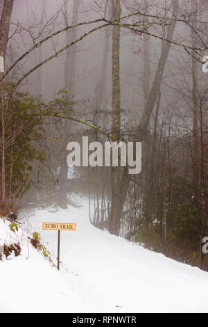 Trailhead Covered With Snow - Stock Image