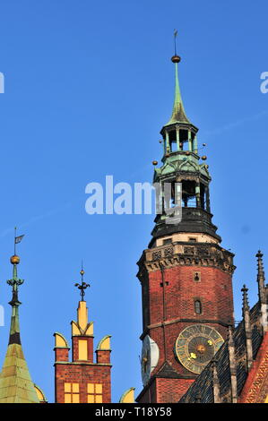 Wroclaw city hall, Town hall tower with giant clock. Lower Silesia, Poland - Stock Image