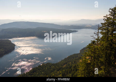 View of Sansum Narrows from Baynes Peak at summit of Mount Maxwell, Salt Spring Island, BC, Canada. Vancouver Island - Stock Image