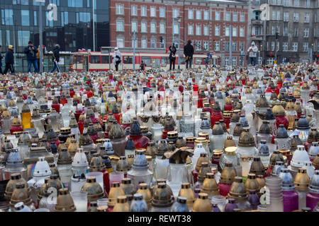 Grave candles in the City of Gdansk placed by citizens of the city after assassination of mayor Pawel Adamowicz - Stock Image