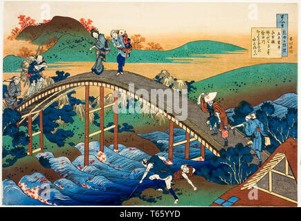 Katsushika Hokusai, People Crossing an Arched Bridge (Ariwara no Narihira), print, c. 1830-1841 - Stock Image
