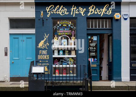 Golden Hare Books, an independent book shop in St Stephen Street, Stockbridge, Edinburgh, Scotland, UK. - Stock Image