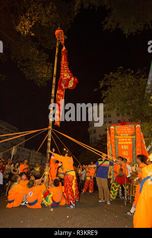 Dragon Dance. Tet Festival, New Year celebration, Vietnam. - Stock Image