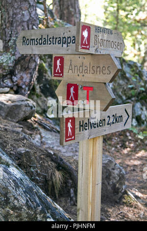 Hiking trail signs in Norway. - Stock Image