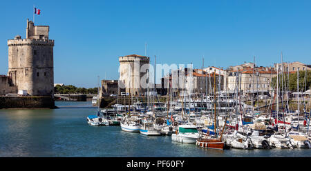 The port of La Rochelle on the coast of the Poitou-Charentes region of France. - Stock Image