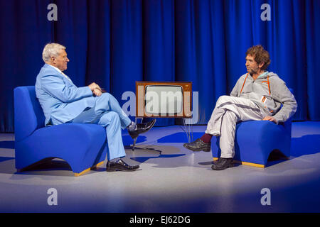 Walsall, West Midlands, UK. 22 March 2015. David Hamilton (L) with English singer songwriter Jona Lewie at a recording - Stock Image