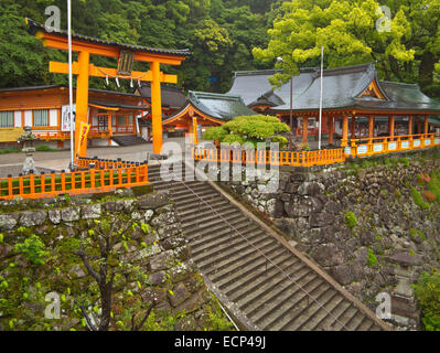 Torri gate at Kumano Nachi Taisha Grand Shrine, on Kumano Kodo Pilgrimage Route, Kii Peninsula, Wakayama Prefecture, - Stock Image