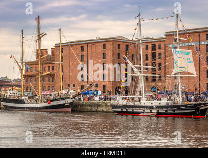 Boats docked in Liverpool during Tall Ships Regatta. - Stock Image
